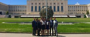 NYU Law at the International Law Commission at the UN in Geneva in summer 2015: from left to right: Andrew Larkin (Class of 2017); Emily Buist-Catherwood (LLM 2015); Daniel Peck (Class of 2017); Haley Anderson (JD 2014, LLM 2015); Regina Hsu (Class of 2017); Cristina Passoni (Class of 2017); Kexin Zheng (Class of 2017); Hendrik Denys (LLM 2015); Juergen Bering (LLM 2015).