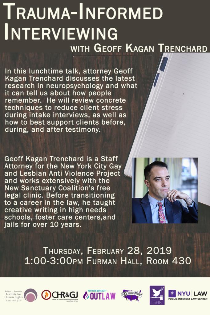 Trauma-Informed Interviewing with Geoff Kagan Trenchard - NYU School
