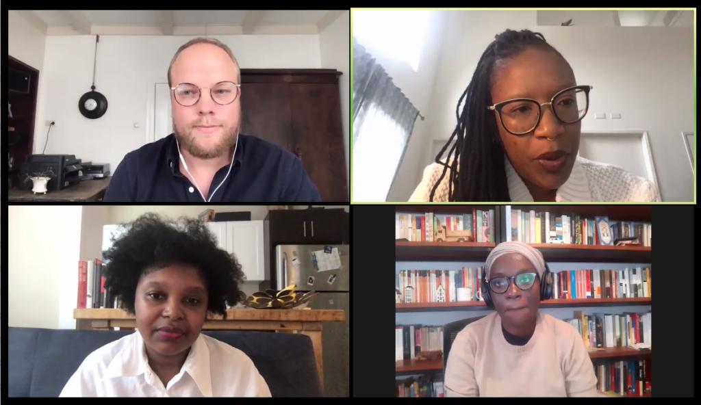 Screenshot of speakers at Techno-Racism webinar