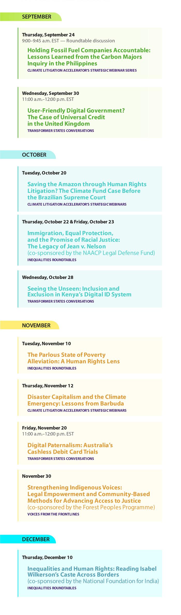 fall 2020 event schedule