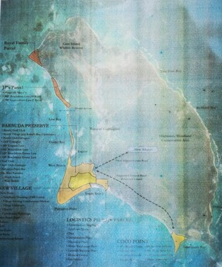Developer's map of planned projects in Barbuda