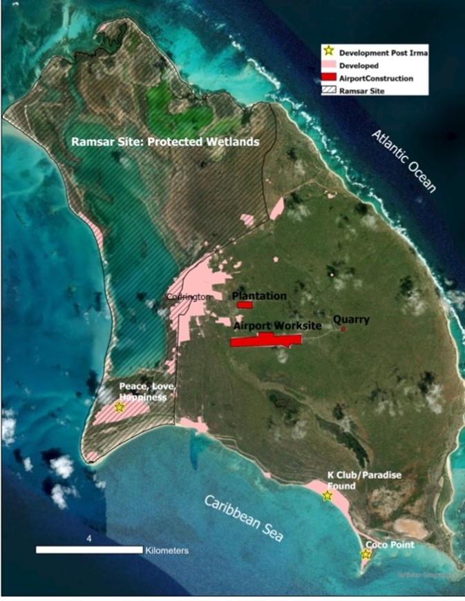 Map of projects currently in process and Ramsar protected areas